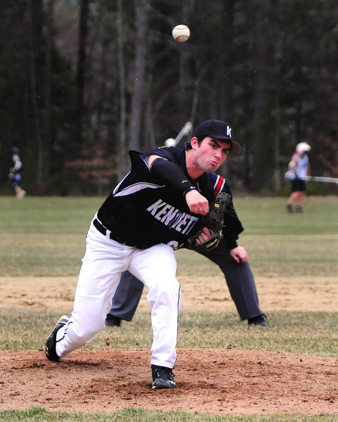 Kennett Eagles pitcher Nick Massa, delivers a pitch to a Berlin High School batter, during a game on April 25th, 2011. The visiting Mountaineers scored a 4-1 victory over the Eagles, in North Conway, NH.