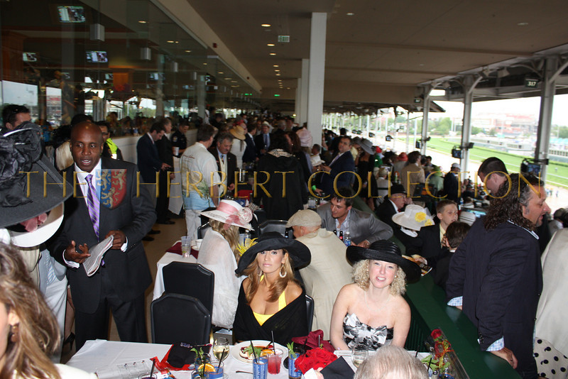 Tito Jackson on the left. The scene on Millionaire's Row before the Derby race
