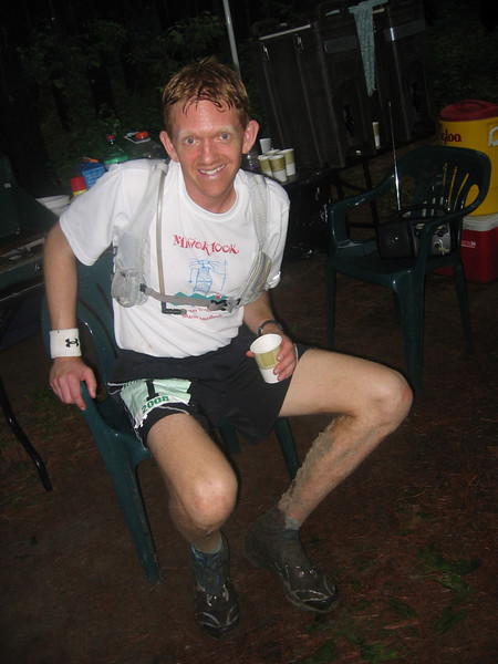 Matt Bartz visits the aid station for the last time before his 100-mile finish.