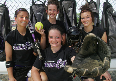Erin Pond, sophomore; Kim Kokoski, senior; Kenzie Conrad, sophomore; and Taylor Kessinger, senior.  This picture is for a story by Matt Florjancic /  photo by Chuck Humel