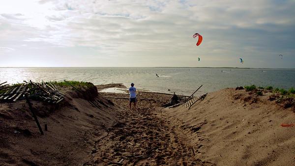 Kiteboarding Pocomo Point on Nantucket