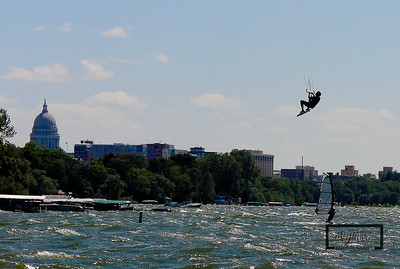 Tenny Park Kiteboarding looking west towards the Capitol Building on Lake Mendota.