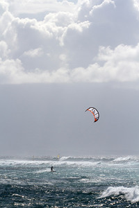 Kitesurfing, west of Ho'okipa, Maui, Hawaii. May 2012