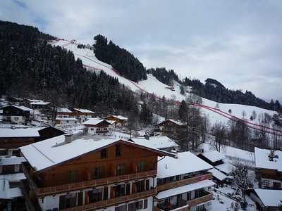Looking from the Hahnenkammbahn (gondola) towards the approach to the finish line.
