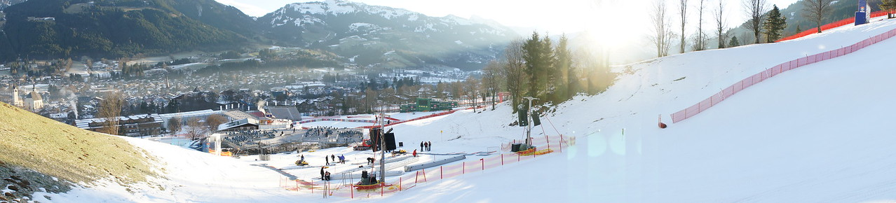 Panorama view looking over the Slalom start at sunrise.