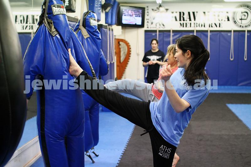 11-6-12. Krav Maga instructor Melinda Slonim  taking a women's session. Photo: Peter Haskin