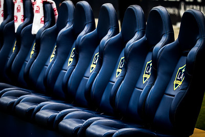 Field seating for the players of the L.A. Galaxy.