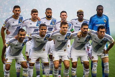 LA Galaxy Squad 2015 takes the field at the Stub Hub Center in Carson, CA.