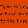 Tyler taking a hard shot