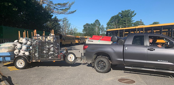 A member of the Gardiner football organization leaves with a truck and trailer full of football equipment donated by Lincoln County Football. (Photo courtesy Jane Oliver-Gravel)