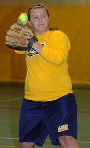 LCCC softball Erin Phillips (formerly of Firelands) takes fielding practice.