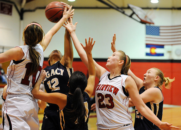20120103_Fairview_Legacy_WBBall_8.jpg Legacy and Fairview players battle for possession of the ball during their Tuesday, January 3, 2012 game hosted by the Knights. (Kira Horvath/Daily Camera)