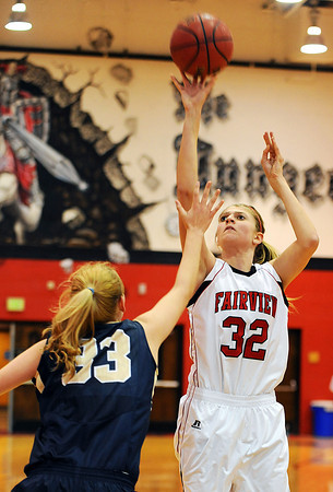 20120103_Fairview_Legacy_WBBall_7.jpg Legacy's Courtney Smith, left, tries to block a shot put up by Fairview's Georgina Ryder during the second quarter of their Tuesday, January 3, 2012 game hosted by the Knights. (Kira Horvath/Daily Camera)