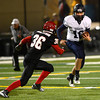 "Fairview High School's #36 Aaron MacArthur tracks down Legacy High School's #10 Steven Yoshihara during their game at Recht Field on  October 12, 2012. For more photos go to  <a href=""http://www.bocopreps.com"">http://www.bocopreps.com</a><br /> Photos by Paul Aiken / The Boulder Camera"