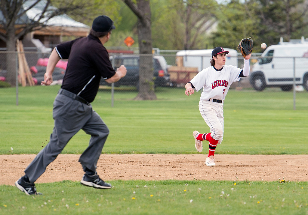 . Loveland\'s Kellen Bakovich (2) makes an out against Ralston Valley while playing second base Tuesday afternoon May 10, 2016 at Centennial Park in Loveland. (Photo by Michael Brian/Loveland Reporter-Herald)