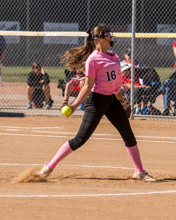 . Loveland pitcher Laurin Krings (16) throws against Fairview Saturday morning Oct. 8, 2016 at Centennial Park in Loveland. The Indians won in a 7-0 shutout. (Photo by Michael Brian/Loveland Reporter-Herald)