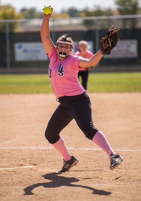 . Loveland\'s Abby Lukkes (11) pitches in relief against Fairview Saturday morning Oct. 8, 2016 at Centennial Park in Loveland. Lukkes and Laurin Krings combined their pitching strenght for a 7-0 Indians shutout. (Photo by Michael Brian/Loveland Reporter-Herald)
