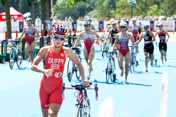 AP120708057621.jpg In this photo released by the International Triathlon Union, Bermuda's Flora Duffy leads the elite women's field into transition on her way to bronze at the 2012 Edmonton ITU Triathlon World Cup in Canada on Sunday, July 8, 2012. (AP Photo/ITU, Arnold Lim)<br /> olympics
