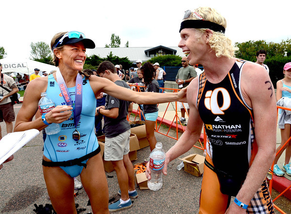 "2012 Boulder Peak Triathlon72.JPG Olympian, Laura Bennett, left, and Cameron Dye of Boulder, were the pro division winners of the Boulder Peak Triathlon on Sunday at the Boulder Reservoir.<br /> For more photos and a video from the Peak Triathlon, go to  <a href=""http://www.dailycamera.com"">http://www.dailycamera.com</a>.<br /> Cliff Grassmick / July 8, 2012"