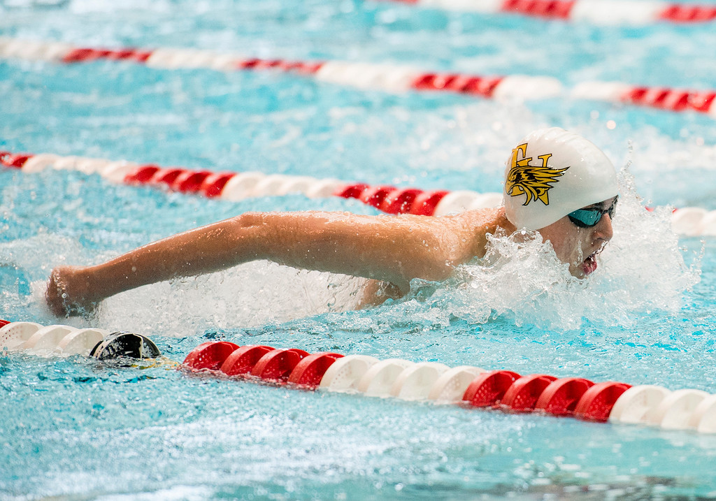 . Thompson Valley\'s Lukas Gately swims the butterfly portion of the 200-yard individual medley final Saturday afternoon May 21, 2016 during the 2016 CHSAA State Swim and Dive Meet at Veterans Memorial Aquatics Center in Thornton. (Photo by Michael Brian/Loveland Reporter-Herald)