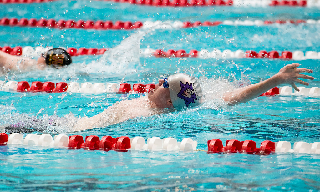 . Mountain View\'s Aidan Pickering swims the 100-yard backstroke final Saturday afternoon May 21, 2016 during the 2016 CHSAA 4A State Swim and Dive Meet at Veterans Memorial Aquatics Center in Thornton. (Photo by Michael Brian/Loveland Reporter-Herald)