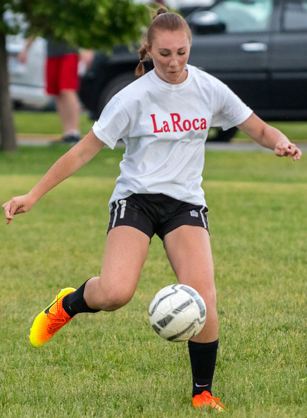 Kennedy Bodily (681) shows ball control as she sends the loose ball downfield uring the Soccer tryouts for La Roca. he team hosts Soccer tryouts for La Roca program that is based in Northern Utah that is now an academy. At Ellison Park in Layton on Thursday June 2, 2017.