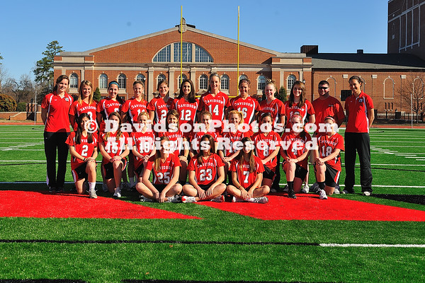01 March 2011: Women's lacrosse pose for team pictures at Richardson Stadium in Davidson, North Carolina.