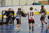 "Onondaga Redhawks leading scorer Wade Bucktooth (19) puts one past the Allegany Arrows goalie in Can-Am Senior ""B"" Box Lacrosse league action at the Onondaga Nation Arena in Nedrow, New York on Sunday, June 26, 2011.  Redhawks won 30-4."