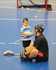 "Onondaga Redhawks player warms up before a game agianst the Allegany Arrows in Can-Am Senior ""B"" Box Lacrosse league action at the Onondaga Nation Arena in Nedrow, New York on Sunday, June 26, 2011.  Redhawks won 30-4."