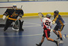 """Onondaga Redhawks AJ Bucktooth (21) fires a goal agains the Allegany Arrows in Can-Am Senior """"B"""" Box Lacrosse league action at the Onondaga Nation Arena in Nedrow, New York on Sunday, June 26, 2011.  Redhawks won 30-4."""