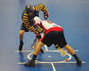 """Opening face-off for the Allegany Arrows and Onondaga Red Hawks in Can-Am Senior """"B"""" Box Lacrosse league action at the Onondaga Nation Arena in Nedrow, New York on Sunday, June 26, 2011.  Redhawks won 30-4."""