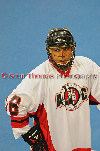 """Onondaga Red Hawks Nael Powless (16) before a game against the Allegany Arrows in Can-Am Senior """"B"""" Box Lacrosse league at the Onondaga Nation Arena in Nedrow, New York on Sunday, June 26, 2011.  Redhawks won 30-4."""