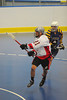 """Onondaga Redhawks AJ Bucktooth (21) plays against the Allegany Arrows in Can-Am Senior """"B"""" Box Lacrosse league action at the Onondaga Nation Arena in Nedrow, New York on Sunday, June 26, 2011.  Redhawks won 30-4."""
