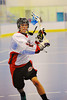 Onondaga Redhawks Trevor Clark (2) in pre-game warmups before taking on the Buffalo Creek Thunder at the Onondaga Nation Arena near Nedrow, New York on Sunday, June 17, 2012.