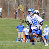 Fitchburg High School boy's lacrosse played Lunenberug High School on Tuesday April 22, 2014 at LHS. LHS's Michael LaManna takes off with the ball during action in the game. SENTINEL & ENTERPRISE/JOHN LOVE
