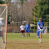 Leominster High School boys lacrosse played Fitchburg High School on Thursday afternoon at Nikitas Field in Fitchburg. LHS's Cam Cordio  fires a shot on FHS's goalie Johnny Xiong during action in the game. SENTINEL & ENTERPRISE/JOHN LOVE