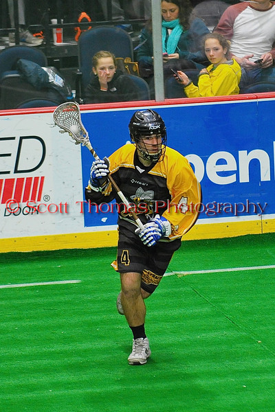 Syracuse Stingers Brandon Spillet (4) with the ball against the NYC Lax All-Stars at the Onondaga County War Memorial in Syracuse, New York on Thursday, February 21, 2013.