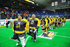 Syracuse Stingers line up after the game to shake the NYC Lax All-Stars player's hands at the Onondaga County War Memorial in Syracuse, New York on Thursday, February 21, 2013.