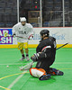 Syracuse Stingers goalie Matt Urall (30) makes a save against the NYC Lax All-Stars at the Onondaga County War Memorial in Syracuse, New York on Thursday, February 21, 2013.