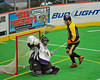 Syracuse Stingers Brandon Francis (9) scores against NYC Lax All-Stars goalie Findley Wilson (39) at the Onondaga County War Memorial in Syracuse, New York on Thursday, February 21, 2013.