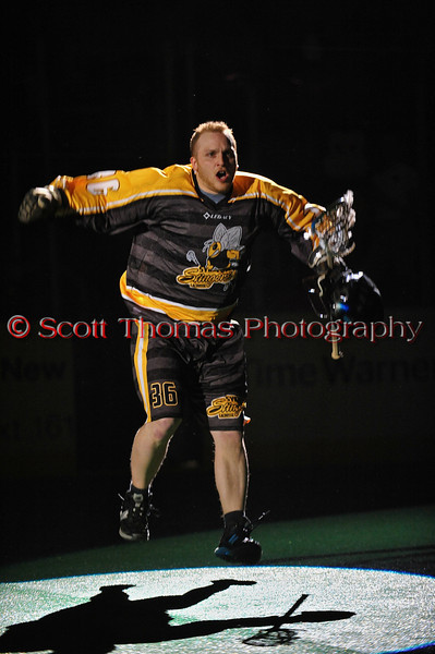Syracuse Stingers Dan Rogers (36) being introduced before the game with the NYC Lax All-Stars at the Onondaga County War Memorial in Syracuse, New York on Thursday, February 21, 2013.