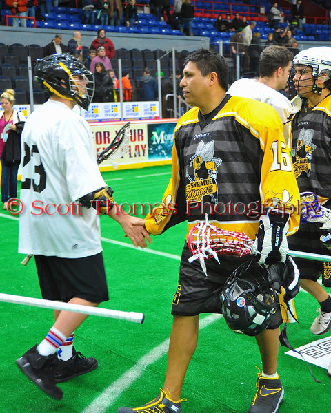 Syracuse Stingers Player-GM Neal Powless (16) after playing the NYC Lax All-Stars at the Onondaga County War Memorial in Syracuse, New York on Thursday, February 21, 2013.
