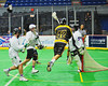 Syracuse Stingers Gewas Schindler (42) launches himself for a shot against the NYC Lax All-Stars at the Onondaga County War Memorial in Syracuse, New York on Thursday, February 21, 2013.