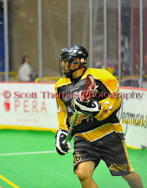Syracuse Stingers Neal Powless (16) playing against the NYC Lax All-Stars at the Onondaga County War Memorial in Syracuse, New York on Thursday, February 21, 2013.