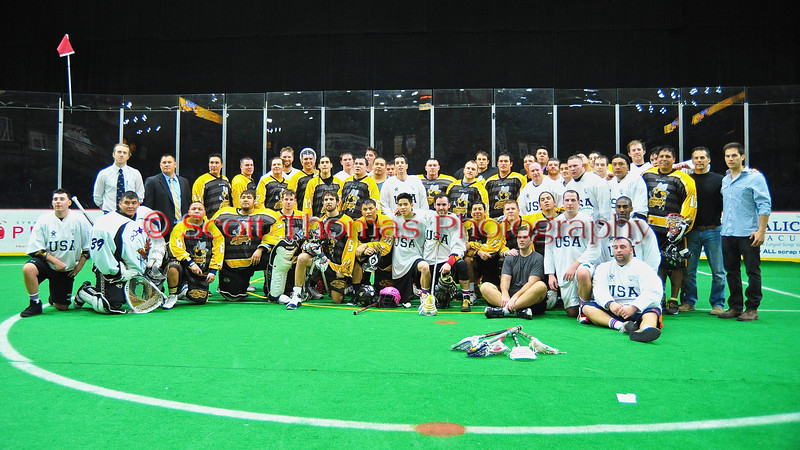 Syracuse Stingers and the NYC Lax All-Stars after the game at the Onondaga County War Memorial in Syracuse, New York on Thursday, February 21, 2013.