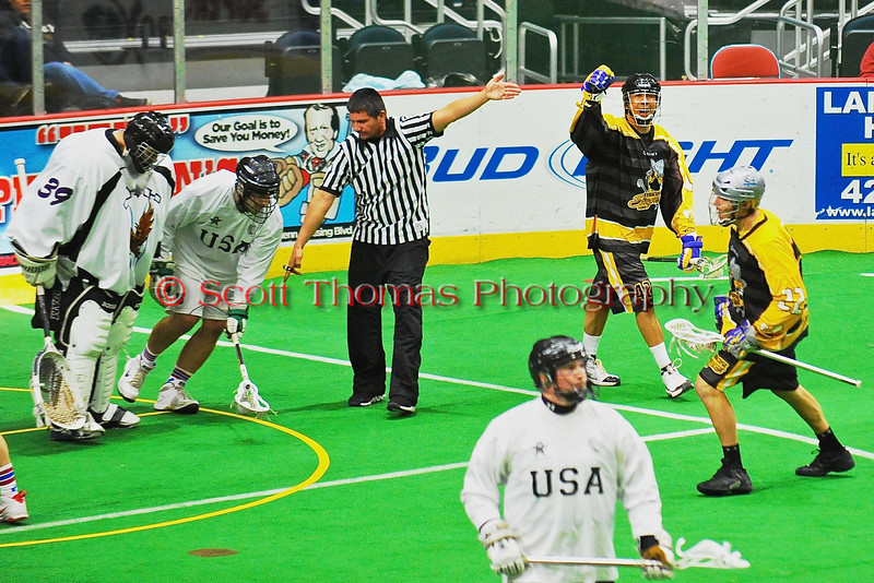 Syracuse Stingers Gewas Schindler (42) celebrates a goal against the NYC Lax All-Stars at the Onondaga County War Memorial in Syracuse, New York on Thursday, February 21, 2013.
