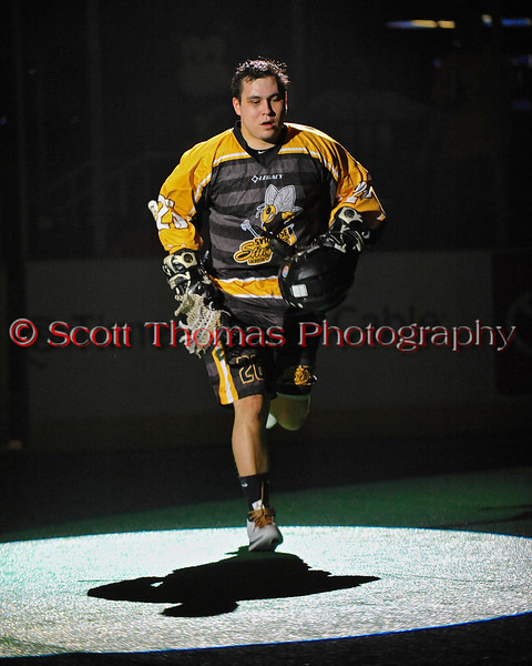 Syracuse Stingers Wade Bucktooth (26) being introduced before the game with the NYC Lax All-Stars at the Onondaga County War Memorial in Syracuse, New York on Thursday, February 21, 2013.