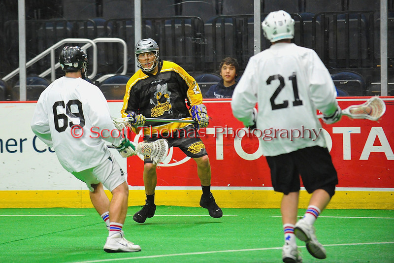 Syracuse Stingers Brent Rothfuss (22) looking to make a play against the NYC Lax All-Stars at the Onondaga County War Memorial in Syracuse, New York on Thursday, February 21, 2013.