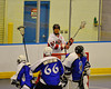 Onondaga Redhawks Brett Bucktooth (66) behind the Niagara Hawks goal in Can-Am Senior B Box Lacrosse game held at the Onondaga Nation Arena near Nedrow, New York on Sunday, June 10, 2012. Redhawks won 11-4.