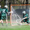 Oakmont goalie Brendon Kelleher protects the net during the game against Fitchburg High on Thursday afternoon. SENTINEL & ENTERPRISE / Ashley Green